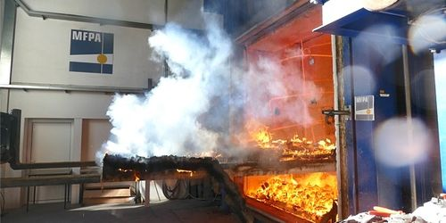 NUR-HOLZ element after the fire test